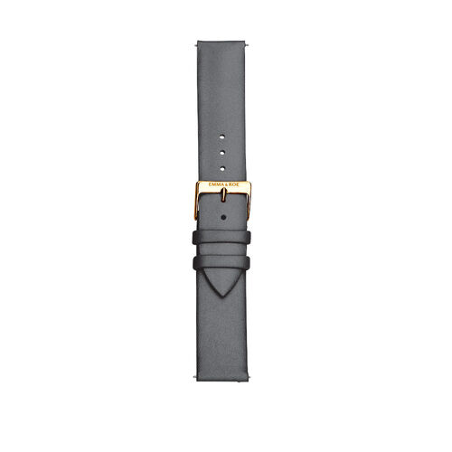 Large Watch Strap in Grey Leather & Gold Tone Stainless Steel