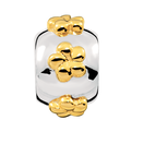 10ct Yellow Gold & Sterling Silver Flower Patterned Charm