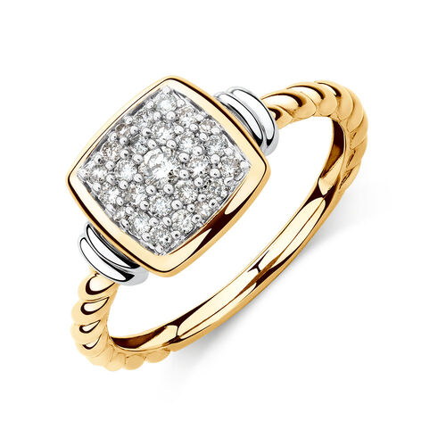 Stacker Ring with 1/4 Carat TW of Diamonds in 10ct Yellow & White Gold