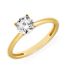 Round Solitaire Ring with Cubic Zirconia in 10ct Yellow Gold