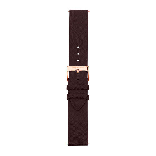Large Watch Strap in Burgundy Leather & Rose Tone Stainless Steel
