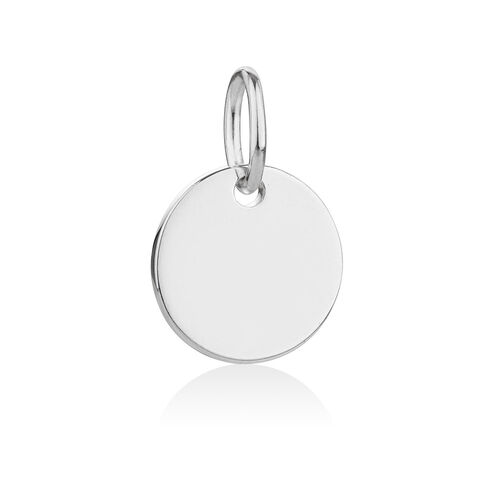 Engravable Round Large Pendant in Sterling Silver