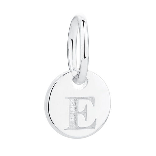 """E"" Initial Mini Pendant in Sterling Silver"