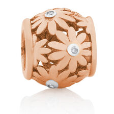 Diamond Set Daisy Charm in 10ct Rose Gold