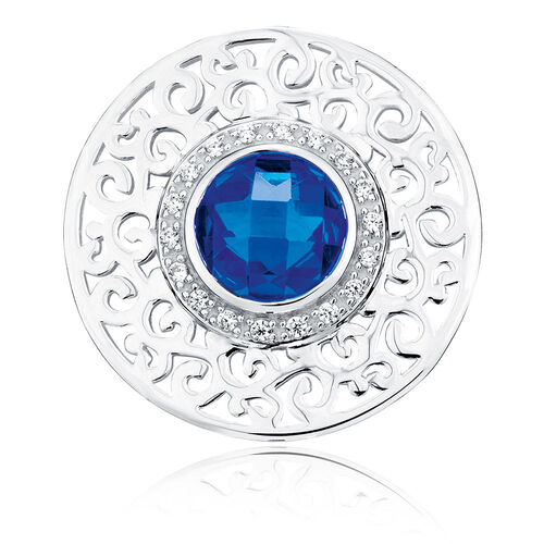 Blue Cubic Zirconia & Sterling Silver Coin Locket Insert