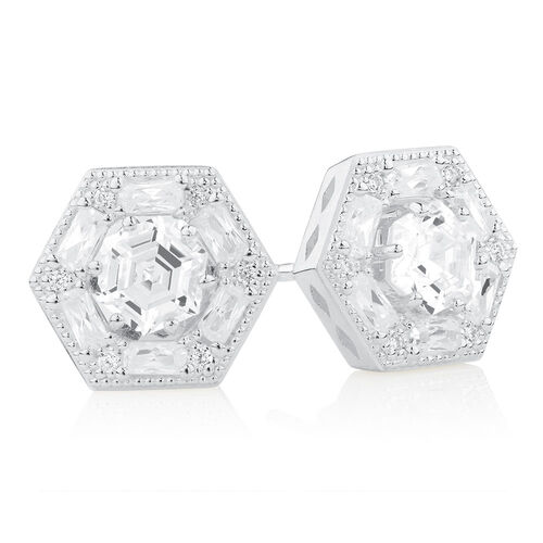 Art Deco Stud Earrings & Enhancer Set with Cubic Zirconia in Sterling Silver
