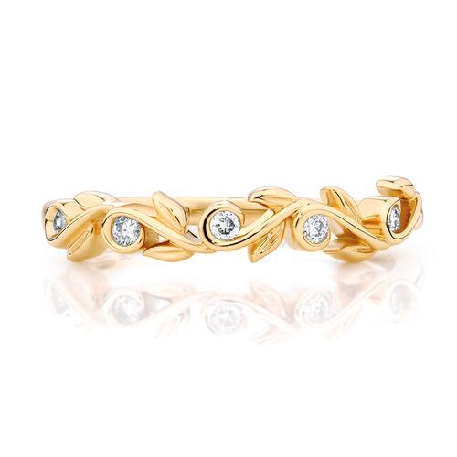 Diamond Set 10ct Yellow Gold Leaf Stack Ring