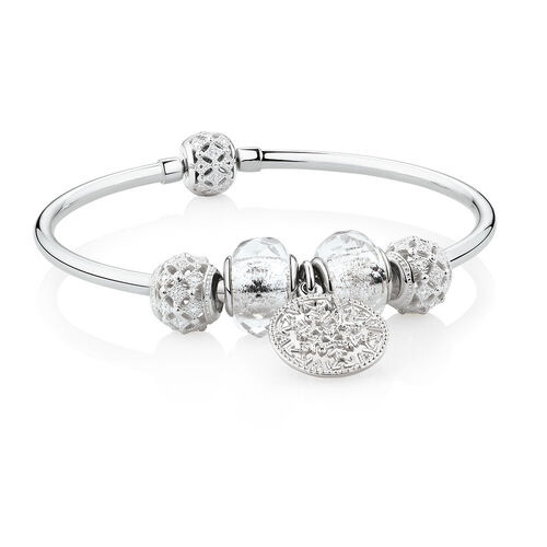 Medium Starter Charm Bangle with Cubic Zirconia & Glass in Sterling Silver