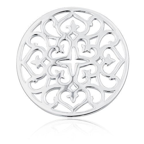 Sterling Silver Heart & Cross Pattern Coin Locket Insert