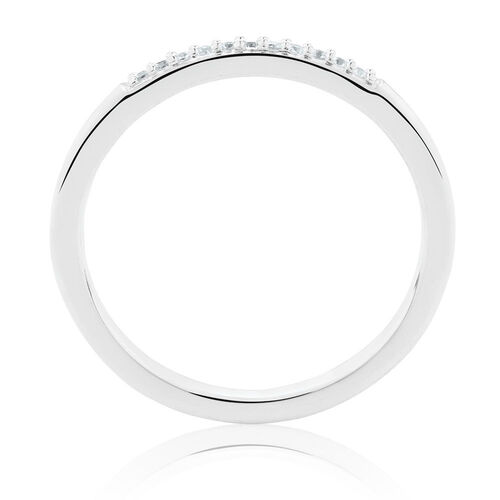 Stacker Midi Ring with Cubic Zirconia in Sterling Silver