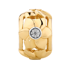 Diamond Set 10ct Yellow Gold Flower Charm