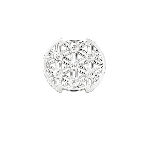 Flower Pattern Mini Coin Locket Insert with Cubic Zirconia in Sterling Silver