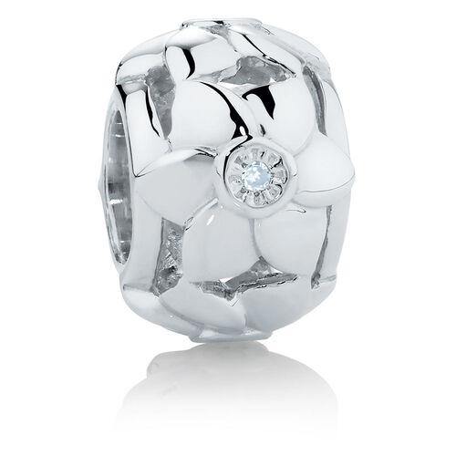 Diamond Set Sterling Silver Flower Charm