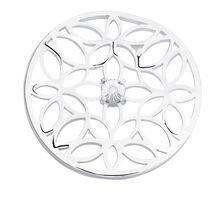 Diamond Set Flower Coin Insert in Sterling Silver