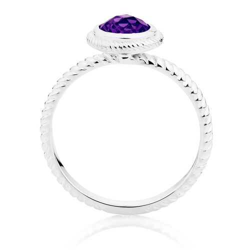 Patterned Purple Cubic Zirconia Stack Ring