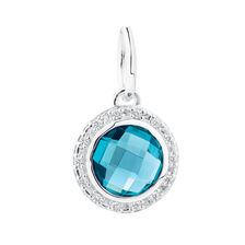 Dangle Charm with Teal Crystal & Cubic Zirconia in Sterling Silver