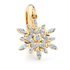 Diamond Set Snowflake Dangle Charm in 10ct Yellow Gold