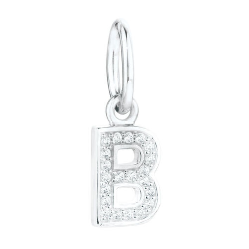 """""""B"""" Mini Pendant with Cubic Zirconia in Sterling Silver"""