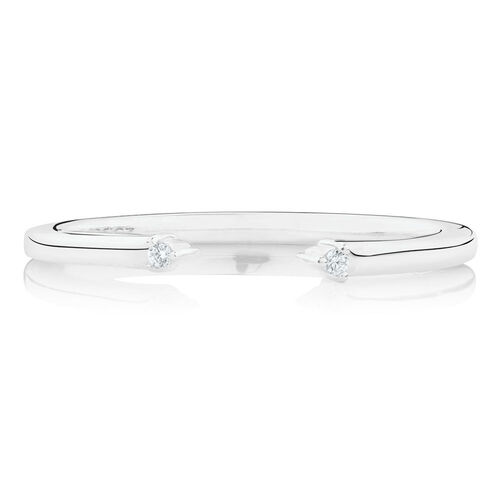 Open Midi Ring with Cubic Zirconia in Sterling Silver