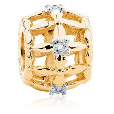 Diamond Set & 10ct Yellow Gold Cage Charm