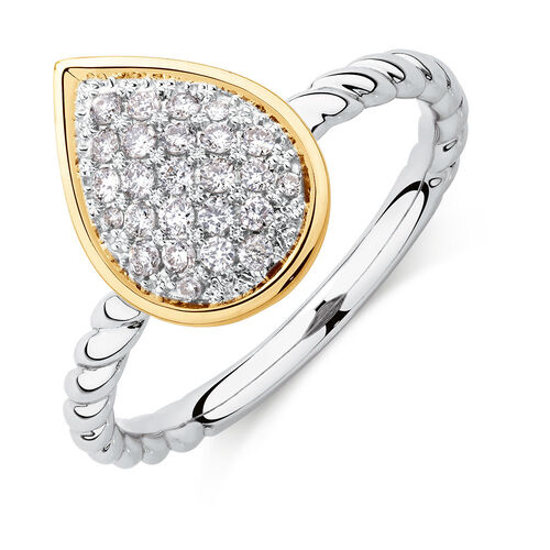 Teardrop Stacker Ring with 1/4 Carat TW of Diamonds in Sterling Silver & 10ct Yellow Gold