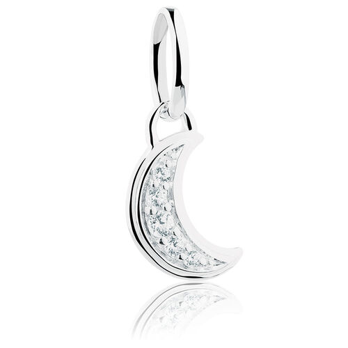 Moon Mini Pendant with Cubic Zirconia in Sterling Silver