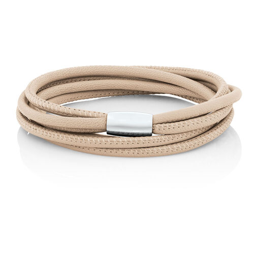"38cm (15"") Wild Hearts Double Wrap Multi-Strand Bracelet in Cream Leather & Stainless Steel"