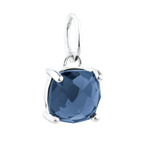 Mini Pendant with Navy Crystal in Sterling Silver