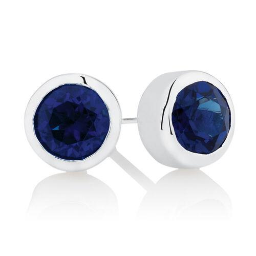 September Stud Earrings with Blue Crystal in Sterling Silver