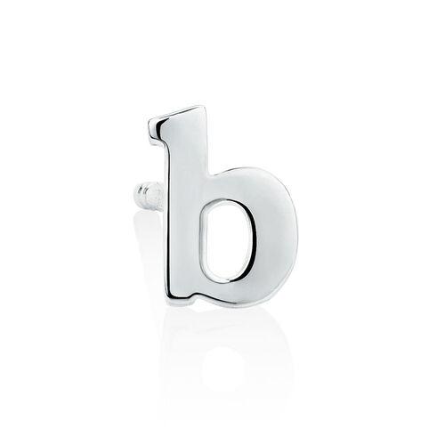 """B"" Initial Stud Earring in Sterling Silver"