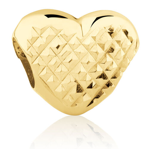 Heart Dimple Charm in 10ct Yellow Gold