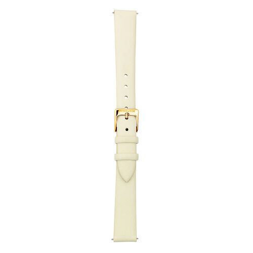 Small Watch Strap in Cream Leather & Gold Tone Stainless Steel