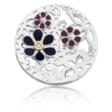 Flower Coin Locket in 10ct Yellow Gold & Sterling Silver