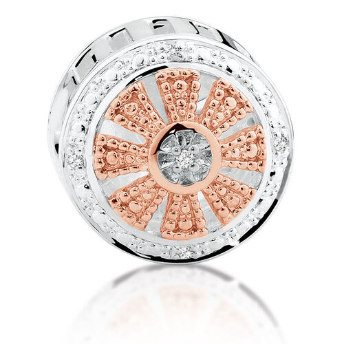 Diamond Set, Rose Gold & Sterling Silver Art Deco Charm