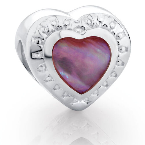 Sterling Silver & Pink Mother Of Pearl Heart Charm