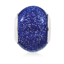 Dark Blue Sparkle Glass Charm