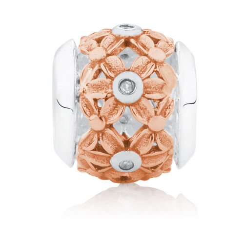 Diamond Set Flower Patterned Charm in 10ct Rose Gold & Sterling Silver