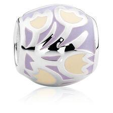 Sterling Silver & Yellow & Purple Enamel Floral Charm