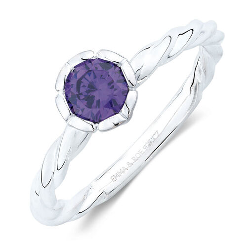 June Stacker Ring with Purple Cubic Zirconia in Sterling Silver