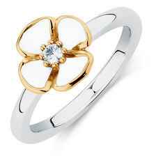 10y/Sil Enamel Daisy Stack Ring