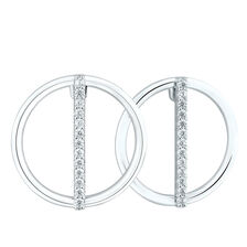 Circle & Bar Earrings with Cubic Zirconia in Sterling Silver