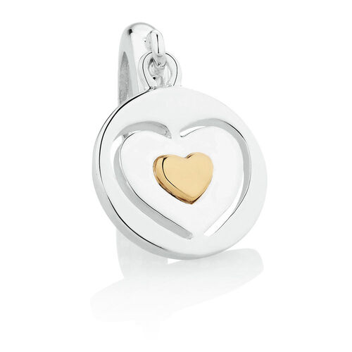Wild Hearts Heart Dangle Charm in Sterling Silver & 10ct Yellow Gold