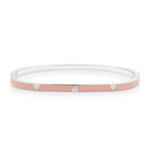 Bangle with Apricot Enamel in Sterling Silver