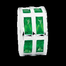Dark Green Cubic Zirconia & Sterling Silver Hexagonal Charm