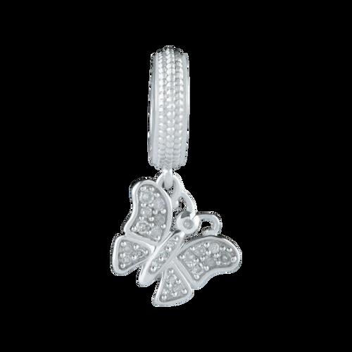Diamond Set & Sterling Silver Butterfly Charm
