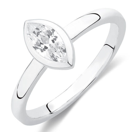 Marquise Stacker Ring with White Cubic Zirconia in Sterling Silver