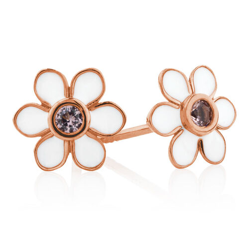Flower Stud Earrings with White Enamel & Pink Crystal in 10ct Rose Gold
