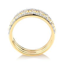 Stacker Ring Set with 1.02 Carat TW of Diamonds in 10ct Yellow Gold
