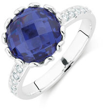 Blue & White Cubic Zirconia Stack Ring