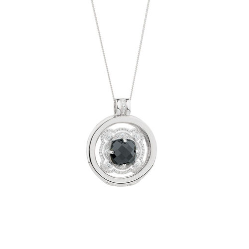 Ready to Wear Coin, Locket & Chain Set with Cubic Zirconia in Sterling Silver